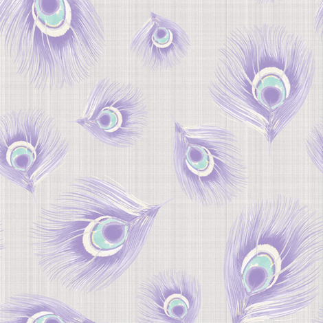 Bird Feathers Pastel Periwinkle mint on Linen_Miss Chiff Designs fabric by misschiffdesigns on Spoonflower - custom fabric