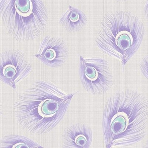 Bird Feathers Pastel Periwinkle mint on Linen_Miss Chiff Designs