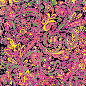 PaisleyFantasy in black pink and green