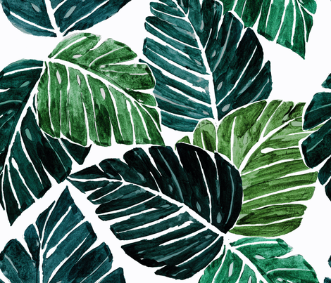Monstera Leaves fabric by crystal_walen on Spoonflower - custom fabric