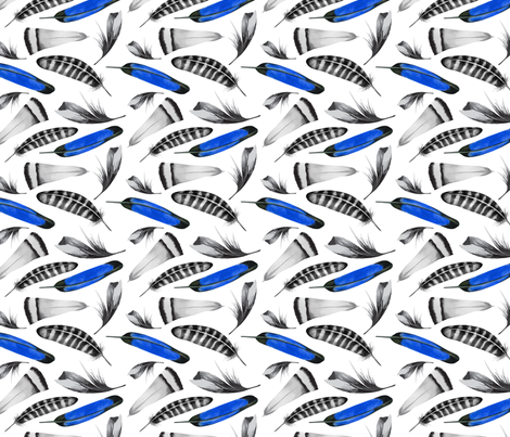 16-05a Feathers Blue Black Watercolor_Miss Chiff Designs fabric by misschiffdesigns on Spoonflower - custom fabric