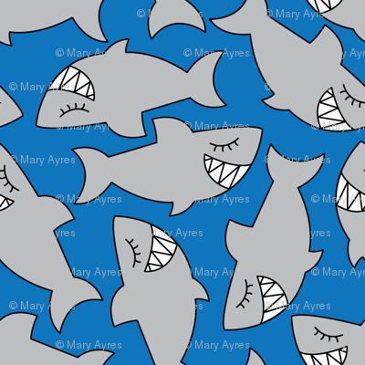 cute sharks-on-blue