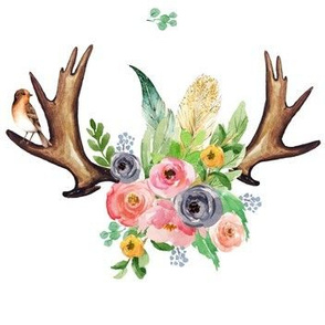 Antlers with Spring Florals & Bird