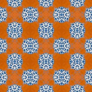 Persimmon  Lace Checkerboard