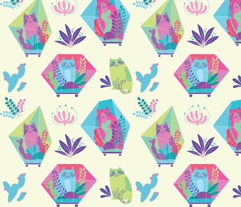 terrarium cats fabric by pinkowlet on Spoonflower - custom fabric