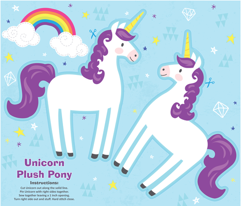 Unicorn Plush Pony Kit - Purple fabric by tiffanyillustrator on Spoonflower - custom fabric