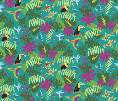 Two Geckos in the Rainforest fabric by colour_angel_by_kv on Spoonflower - custom fabric