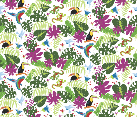 Two Geckos in the Rainforest white fabric by colour_angel_by_kv on Spoonflower - custom fabric