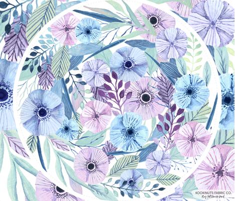 Watercolour flowers play mat roundie DIY fabric by kookinutsfabricco on Spoonflower - custom fabric