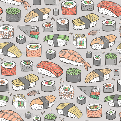 Sushi on Light Grey