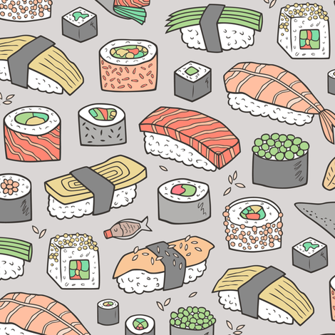 Sushi on Light Grey fabric by caja_design on Spoonflower - custom fabric