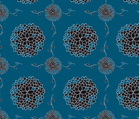 Indigo Floral Creeper fabric by crafty_bug_lady on Spoonflower - custom fabric