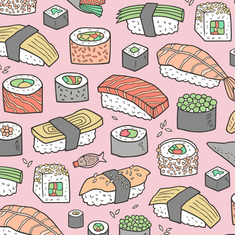 Sushi on Pink fabric by caja_design on Spoonflower - custom fabric