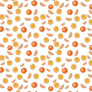 Watercolor seamless pattern. Mandarin, orange