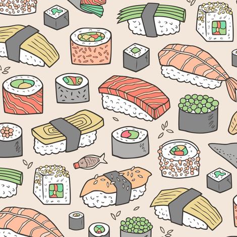 Sushi on Sand fabric by caja_design on Spoonflower - custom fabric