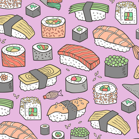 Sushi on Purple Purpel fabric by caja_design on Spoonflower - custom fabric