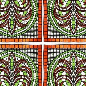 Ancient Greek ornament. Square and round vegetable mosaic