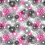 Flowers all over grey/pink