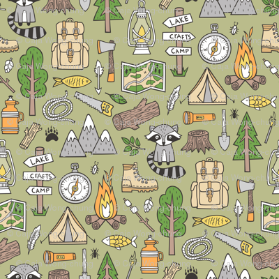 Outdoors Camping Woodland Doodle with Campfire, Raccoon, Mountains, Trees, Logs on Green