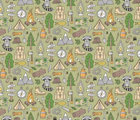 Outdoors Camping Woodland Doodle with Campfire, Raccoon, Mountains, Trees, Logs on Green   fabric by caja_design on Spoonflower - custom fabric