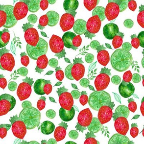 Watercolor seamless pattern. Berries and lime