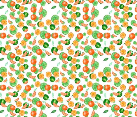 Watercolor seamless pattern on white background. Lime, mandarin, orange fabric by olga_art on Spoonflower - custom fabric