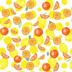 Watercolor seamless pattern on white background. Lemons, cloves, mandarin, orange