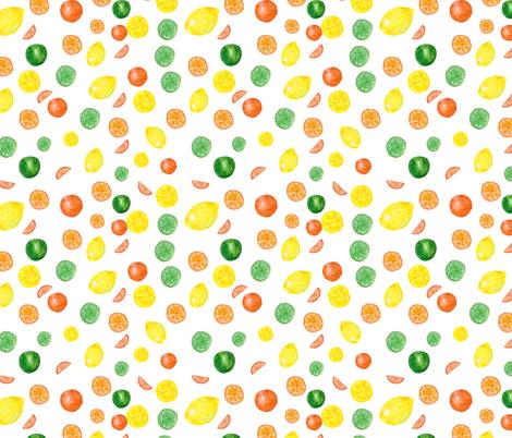 Watercolor seamless pattern on white background. Lemons, cloves. fabric by olga_art on Spoonflower - custom fabric