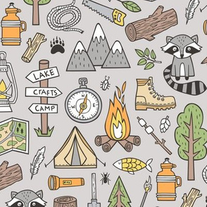 Outdoors Camping Woodland Doodle with Campfire, Raccoon, Mountains, Trees, Logs on Grey