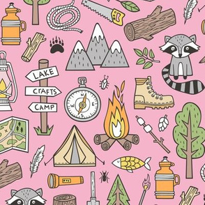 Outdoors Camping Woodland Doodle with Campfire, Raccoon, Mountains, Trees, Logs on Pink