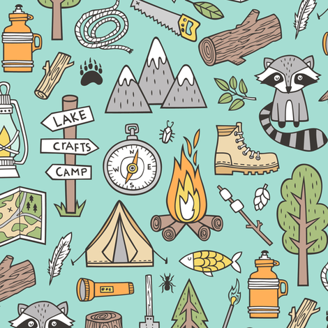 Outdoors Camping Woodland Doodle with Campfire, Raccoon, Mountains, Trees, Logs on Mint Green   fabric by caja_design on Spoonflower - custom fabric