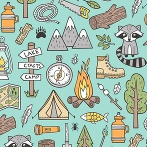 Outdoors Camping Woodland Doodle with Campfire, Raccoon, Mountains, Trees, Logs on Mint Green