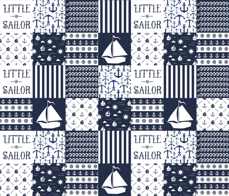Little sailor patchwork quilt top fabric by thinlinetextiles on spoonflower custom fabric