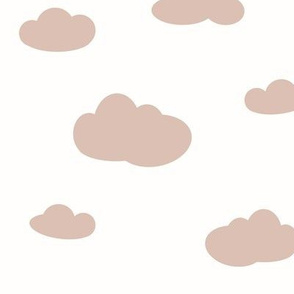 Clouds - blush on white , dusty pink and white