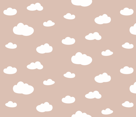 Clouds - white on blush dusty pink sky fabric by sunny_afternoon on Spoonflower - custom fabric