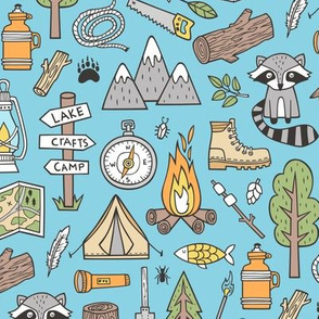 Outdoors Camping Woodland Doodle with Campfire, Raccoon, Mountains, Trees, Logs on Blue