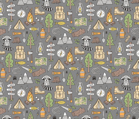 Outdoors Camping Woodland Doodle with Campfire, Raccoon, Mountains, Trees, Logs on Dark Grey fabric by caja_design on Spoonflower - custom fabric