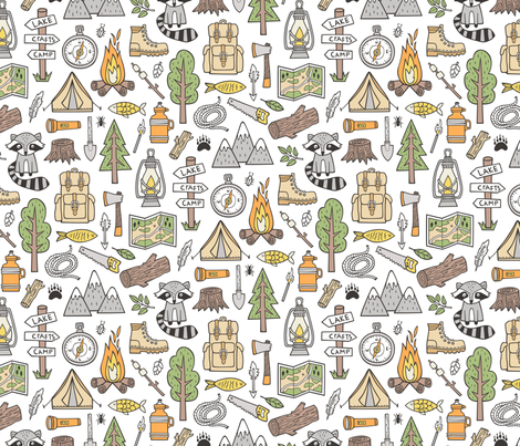 Outdoors Camping Woodland Doodle with Campfire, Raccoon, Mountains, Trees, Logs on White fabric by caja_design on Spoonflower - custom fabric