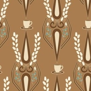 Coffee Damask on Tan_Miss Chiff Designs