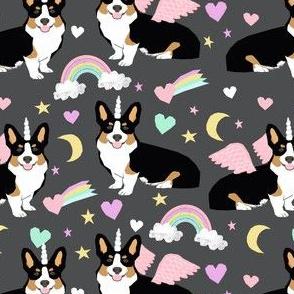 corgi unicorn fabric - tricolored corgis pastel unicorn corgi design