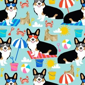 corgi sandcastle summer fabric beach themed corgi fabric summer california design