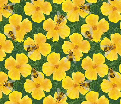 Orange_flowers_with_bumble_bees_curves_stripes_pattern_block_shop_preview