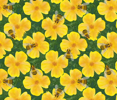 Flowers and bees fabric by mgdoodlestudio on Spoonflower - custom fabric