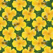 Orange_flowers_with_bumble_bees_curves_stripes_pattern_block_shop_thumb