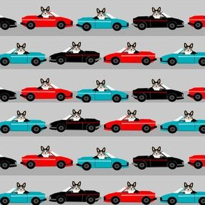 corgi sports car fabric funny corgi fabric