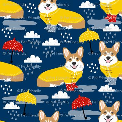 corgi rain day spring showers fabric cute corgis in rainboots fabric