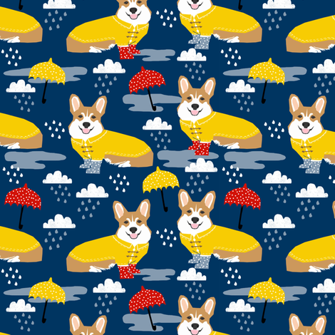 corgi rain day spring showers fabric cute corgis in rainboots fabric fabric by petfriendly on Spoonflower - custom fabric
