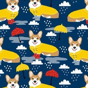 corgi rain day spring showers fabric cute corgis in rainboots fabric