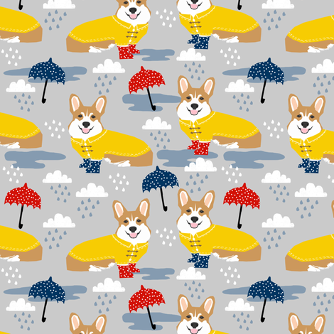 corgi rain day spring showers fabric cute corgis in rainboots fabric fabric by petfriendly on Spoonflower - custom fabric