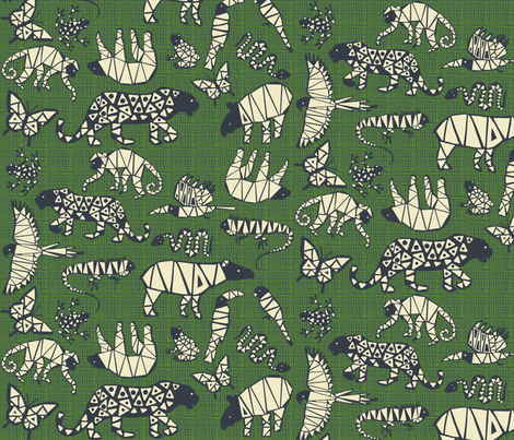 rainforest animals [hatch background] fabric by kheckart on Spoonflower - custom fabric